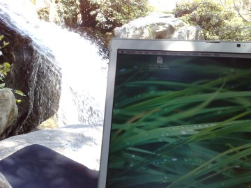 Waterfall and macbook pro